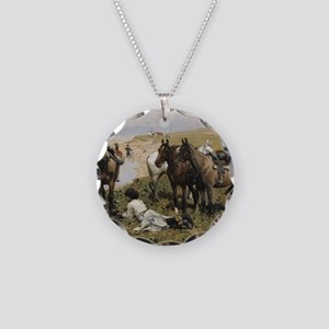 Resting with Horses Kaukaski Necklace Circle Charm