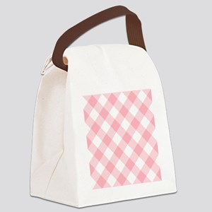 Light Pink and White Gingham Canvas Lunch Bag