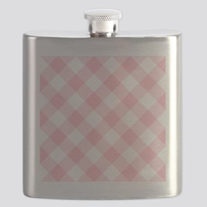 Light Pink and White Gingham Flask