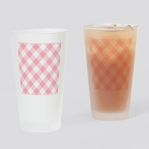 Light Pink and White Gingham Drinking Glass