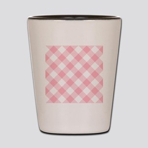 Light Pink and White Gingham Shot Glass