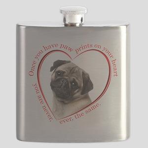 Pug Paw Prints Flask