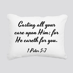 1 Peter 5:7 - Casting al Rectangular Canvas Pillow