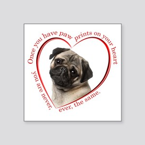 "Pug Paw Prints Square Sticker 3"" x 3"""