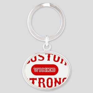 Boston Wicked Strong - Red Oval Keychain