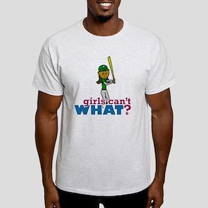 Girl Softball Player in Green Light T-Shirt