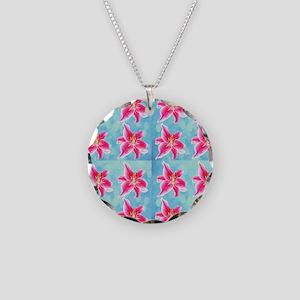 Hawaiian Tiger Lilies Necklace Circle Charm
