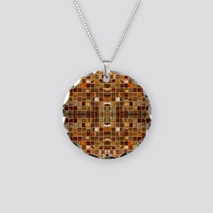 Gold Mosaic Tiles Necklace Circle Charm