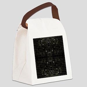 Black Mosaic Tiles Canvas Lunch Bag