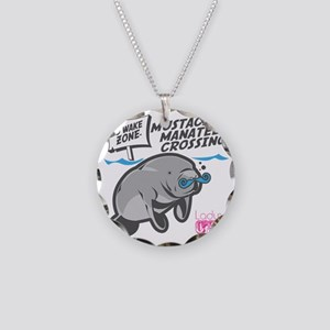 Lady CD Mustached Manatee Necklace Circle Charm