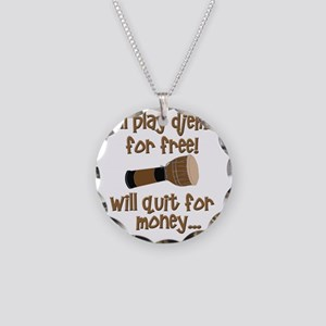 funny djembe Necklace Circle Charm