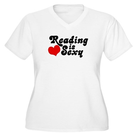 Reading is sexy Women's Plus Size V-Neck T-Shirt