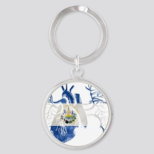 El Salvador Flag in Real heart Round Keychain
