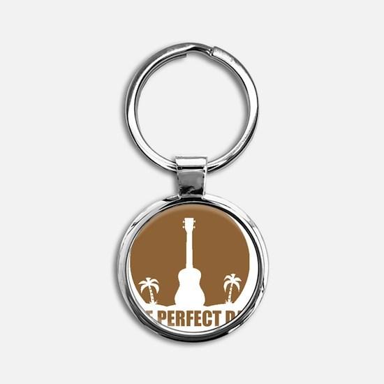 ukulele hat Round Keychain