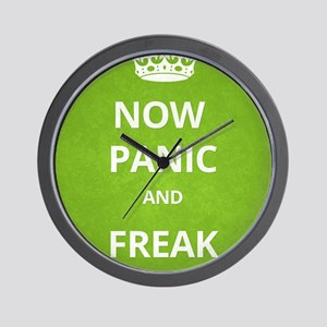 Now Panic and Freak Out Poster (Green) Wall Clock
