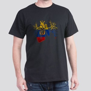 Ecuador Flag in Real heart Dark T-Shirt