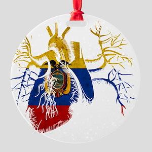 Ecuador Flag in Real heart Round Ornament