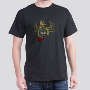 Colombia Flag in Real heart Dark T-Shirt