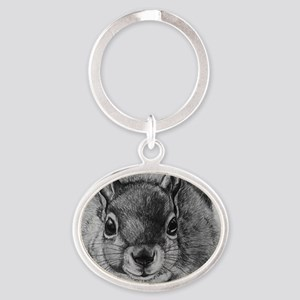 Squrrel Sketch Oval Keychain