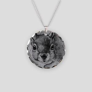 Squrrel Sketch Necklace Circle Charm
