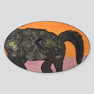 Picasso Cubist Cat ; Cat Dance Sticker (Oval)
