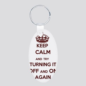 Keep Calm and Try Turning i Aluminum Oval Keychain