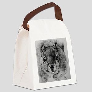 Squirrel Sketch Canvas Lunch Bag