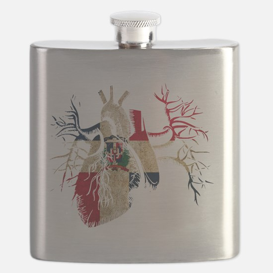 Dominican Republic Flag in Real heart Flask