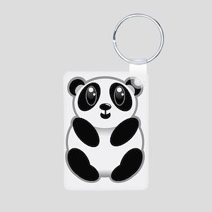 Baby Panda Aluminum Photo Keychain