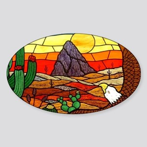 Southwestern Stained Glass Eagle Sticker (Oval)
