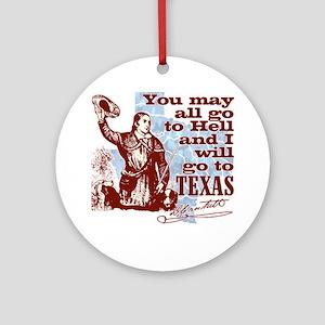 Davys Gone To Texas Round Ornament