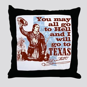 Davys Gone To Texas Throw Pillow