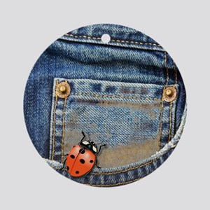 Buggy  Jeans Round Ornament