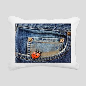 Ladybug Jeans Rectangular Canvas Pillow