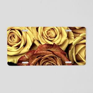 Golden Roses Aluminum License Plate