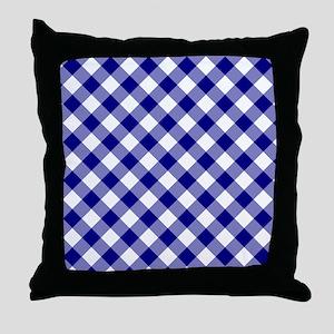 Navy Gingham Throw Pillow