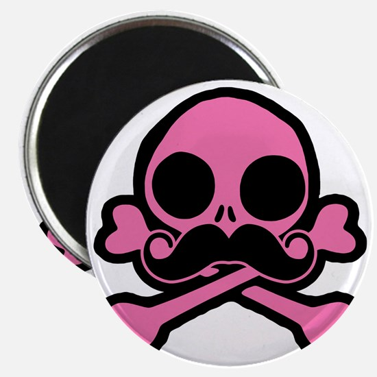 Pink Skull With Moustache Magnet
