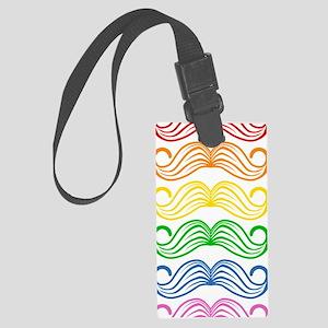 Rainbow Moustaches Large Luggage Tag
