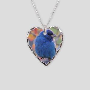Indigo Bunting Necklace Heart Charm