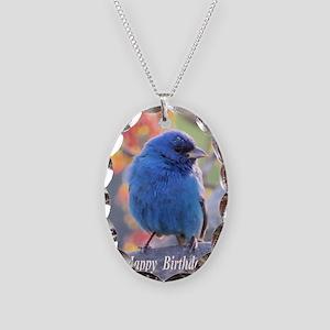 Indigo Bunting Necklace Oval Charm