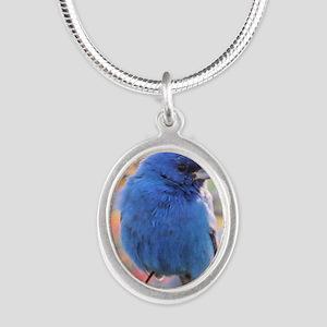 Indigo Bunting Silver Oval Necklace