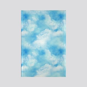 Long Blue Sky Puffy White Clouds Rectangle Magnet