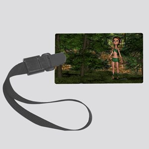 Forest Elf Girl Large Luggage Tag