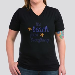 The Beach Fixes Everyt Women's V-Neck Dark T-Shirt