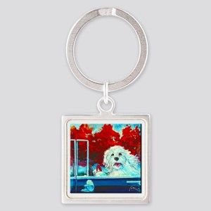 FLUFFY TAKES THE WHEEL Square Keychain