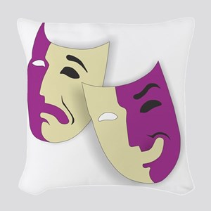 Masks of the Theater Woven Throw Pillow