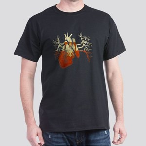 Poland Flag in Real heart Dark T-Shirt