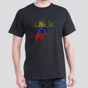 Venezuela Flag in Real heart Dark T-Shirt