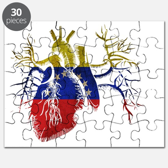 Venezuela Flag in Real heart Puzzle