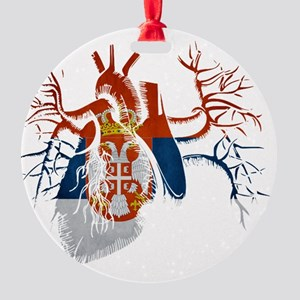 Serbia Flag in Real heart Round Ornament
